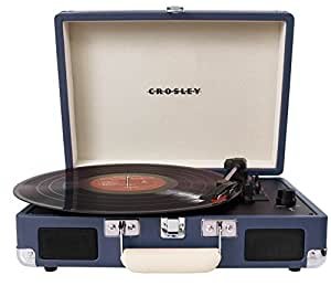 Crosley Cruiser Briefcase Style Three Speed Portable Vinyl Turntable with Built-In Stereo Speakers - Blue