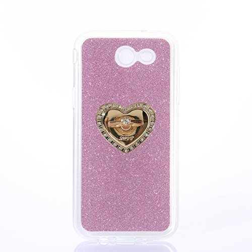 Coque Samsung Galaxy J3 Shiny,Galaxy J3 2017 Coque Rigide,Ekakashop Creative Transparente Clair Pente Bleu Bague Brillant Cover Bling Strass Soft TPU Silicone Crystal Clair Souple Gel Housse de Arrièr Rose Bague