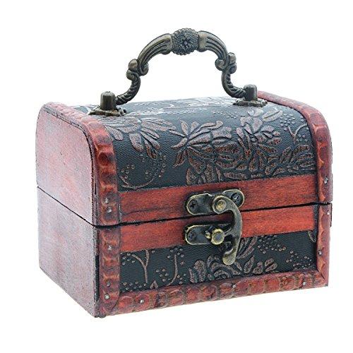 Saim Retro Holz geprägt Fancy Jewelry Box, drei Muster und Leder Trim box Auswahl 2 -