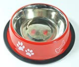 SiDeSo® PeSoBo Napf Edelstahl Fressnapf Hundenapf Hund Trinknapf Motiv (1,5l rot 22cm)