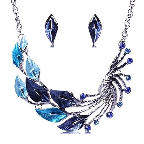 Yheng Halskette und Ohrringen Set, Ethnischer Stil Art Tibetischen Silber Pfau-Kristall Anhänger Halsketten Ohrringe Set für Hochzeitsfeier, Blau