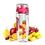 Water Bottle Infuser 32 OZ,Fruit Infused Water Bottle(Multiple Colors) BPA-Free Fruit Infusion Sports