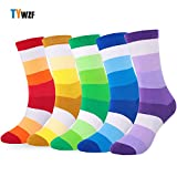 TYWZF Mens Socks 5 Pairs Luxury Stripe Cotton Rich Sock Size EUR 42-46