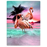 Dick Decke Weich Wärme Gemütlich Flanell-Fleece Sofadecke Deckeldecke Die schöne rosa flamingos sonnenuntergang kokospalmen 125 x 200 cm