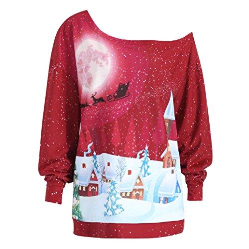 SUCES Frauen Weihnachten Print Sweatshirt Pullover Top Party Plus Size Bluse Shirt Damen Kleidung Frauen Langarmshirt Tuniken Oberteile Pullover Casual Mode Hemd Drucken Top Party (Red, (Size Plus Halloween Kinder Kostüme)