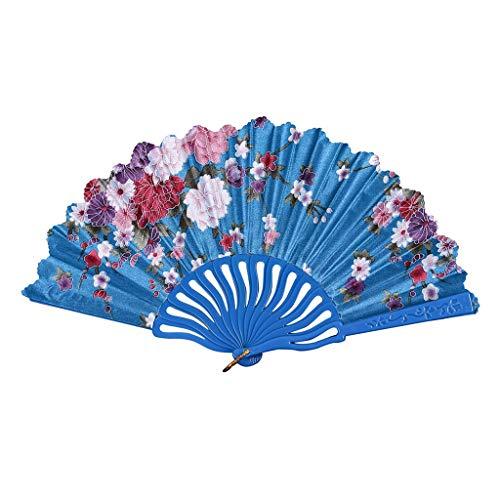 Andouy Retro Faltfächer/Handfächer/Papierfächer/Federfächer/Sandelholz Fan/Bambusfächer für Hochzeit, Party, Tanzen(23cm.Himmelblau)