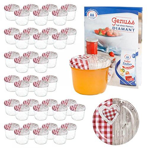 MamboCat 40er 230 ml Sturzglas-Set   Einmachgläser + Twist-Off-Deckel Holz-Herz rotkariert + Gratis Rezeptheft   einkochen & konservieren   backofengeeignet