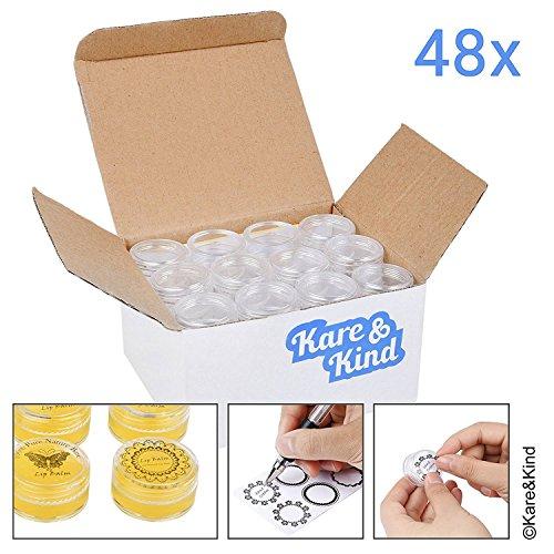 Kare & Kind 48 pots bricolage vide naturel bocal à biberons pot Contenants, contenants cosmétiques, avec couvercles à vis à couvercle transparent, 5 GRAM, y compris les autocollants de baume à lèvres