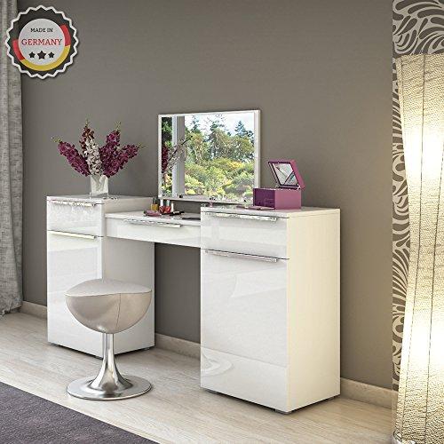 Design Frisiertisch Schminktisch Kosmetik Set Kommode mit Spiegel Hochglanz weiß - 5