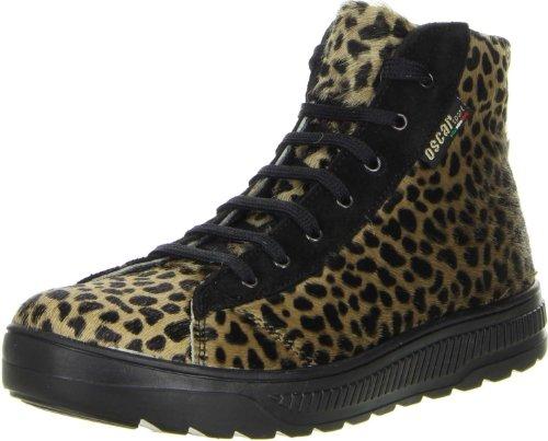 OSCAR Sport Damen High-Cut Sneaker Echtfell Leopard, Größe:39, Farbe:Mehrfarbig