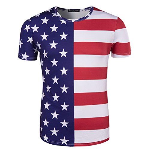 (Tinksky Mode Männer T-Shirts halbe Sterne halbe Streifen amerikanische Flagge T Shirts 3D-Druck Top für 4. Juli - Größe XL)