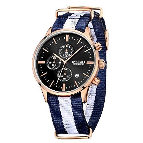 Megir orologi, orologi da polso uomo, al quarzo, in tela, colore blu, cinturino bianco, quadrante nero, relojes