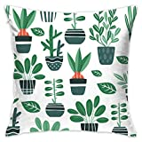 Cute Green Plant Art Pillowcase - Zippered Pillow Case Cover, Pillow Protector, Throw Pillow Cover - Standard Size 18x18