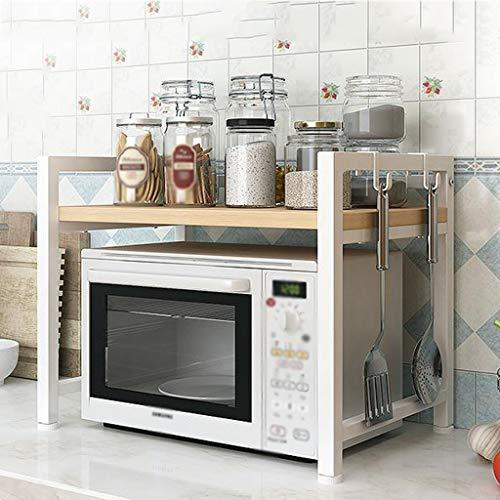 JTWJ La Cocina del Estante del Horno de microondas suministra el Estante de Almacenamiento Multifuncional casero del Acero Inoxidable (Color : Blanco, Tamaño : Una Sola Capa)