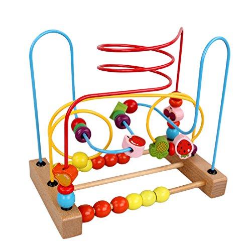 (Likeluk Zählen Roller Coaster Holzspielzeug Perlen-Labyrinth Motorikschleife Spielzeug für Kinder ab 3 Jahren)