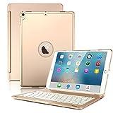 iPad Pro 10.52017étui clavier, Boriyuan iPad Pro 26,7cm clavier Bluetooth Housse support coque arrière rigide avec fonction on/off automatique et 7couleurs rétroéclairé pour 2017Nouvel iPad Pro