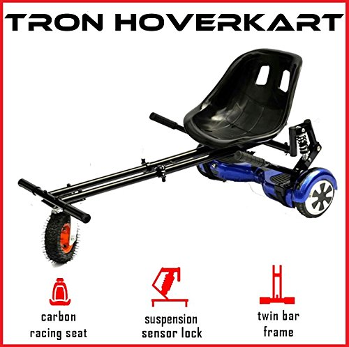 """The Official TRON Carbon Black Monster Suspension Springs Hoverkart with Monster Wheel - Fits All Hoverboard Swegways - 6.5\"""", 8\"""", 10\"""""""