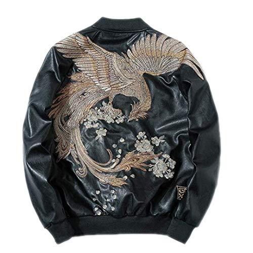 FuweiEncore Mode-Männer Floral Bestickt Leder Bomberjacke (Farbe : Gold, Größe : Medium)