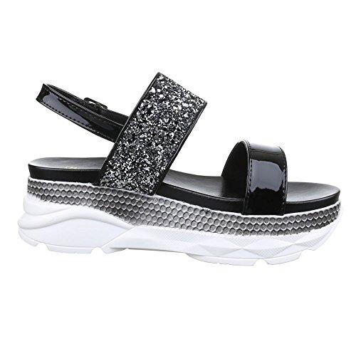Damen Schuhe, H216, SANDALEN PLATEAU GLITTER Schwarz
