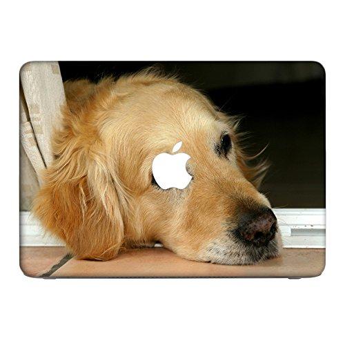 Hunde 10040, Golden Retriever, Skin-Aufkleber Folie Sticker Laptop Vinyl Designfolie Decal mit Ledernachbildung Laminat und Farbig Design für Apple MacBook Pro Retina 15