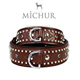 MICHUR OUR WORLD OF PETS FINEST MICHUR Liam BRAUN, Hundehalsband, Lederhalsband, Halsband, BRAUN, LEDER, TÜRKISE STEINE MIT RUNDNIETEN, in verschiedenen Größen erhältlich