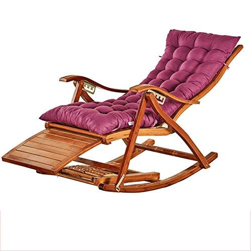 Fauteuil Inclinable En Bambou Chaise Longue Pliante En Bambou Naturel Design Ergonomique 170 ° Coussin Violet Réglable