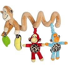 HLC Juguetes Colgantes Espiral de Animales para Cuna Cochecito Carrito,diseño de mono
