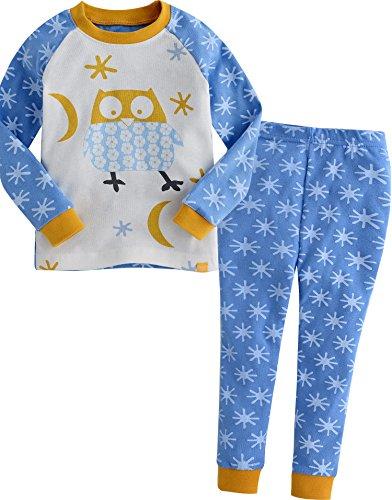 Vaenait Baby Säugling Kinder Langarm zweiteilige Schlafanzüge Set Snow Owl Blue M