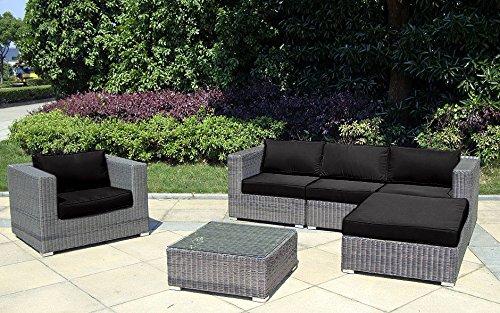 Baidani Rundrattan Garten Lounge Shining Select Grau Meliert