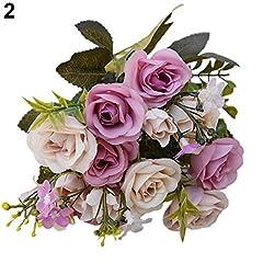 Idea Regalo - Amesii, 1bouquet di fiori artificiali, stile europeo, con 15 rose. Decorazione floreale per la casa Purple