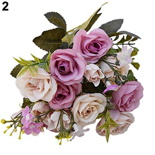 Amesii, 1bouquet di fiori artificiali, stile europeo, con 15 rose. decorazione floreale per la casa purple