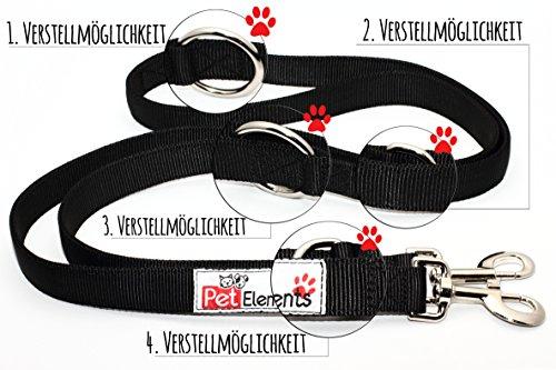 Hundeleine PetElements   inklusive Gratis Leckerlibeutel   Profi Doppelleine & Umhängeleine (2,5 cm breit)   längenverstellbare Hundeführleine & Übungsleine (1m – 2m)   Perfekt für Hundetraining   beißfestes Nylon - 4