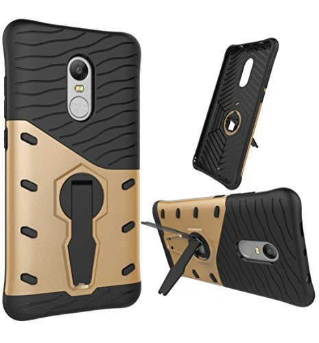 Xiaomi CASSIEY Hard Hybrid Armour Rubber Bumper Kick Stand Back Case Cover For Redmi Note 4 - Black & golden