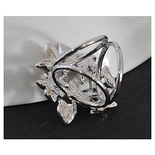 S&E Femmes papillons forme ¨¦l¨¦gante ¨¦charpe trois anneaux Anneaux Strass Boucle Echarpes Foulards en soie D¨¦coration blanc