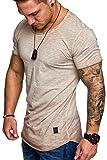Amaci&Sons Oversize Herren Vintage T-Shirt Verwaschen Crew Neck Rundhals Basic Shirt 6033 Beige L