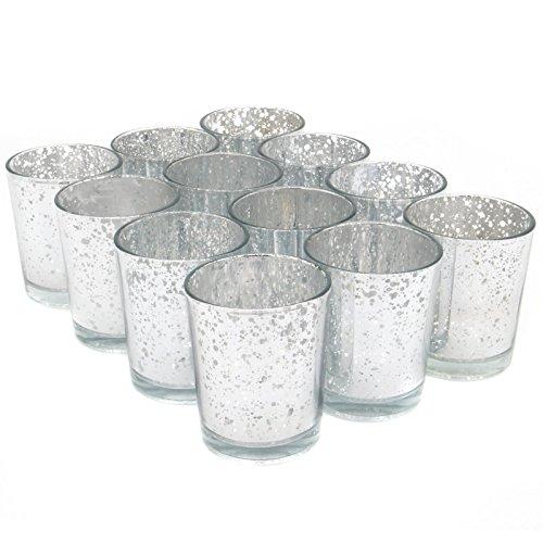Maison & White Set von 12 Kristall Teegläser in Silber gesprenkeltem Glas | Ideal für Hochzeiten, Wohnkultur, Partys, Tischkultur und Geschenke Blei und Quecksilberfrei