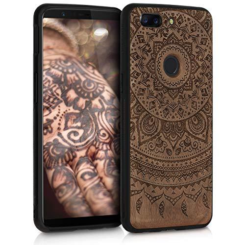kwmobile Holz Schutzhülle für OnePlus 5T - Hardcase Hülle mit TPU Bumper Walnussholz in Indische Sonne Design Dunkelbraun - Handy Case Cover