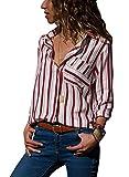 Minetom Donna Camicetta Chiffon Blusa Elegante Camicia Manica Lunga Scollo V Camicetta Camicia Bavero Elegante Bluse B Rosso IT 44