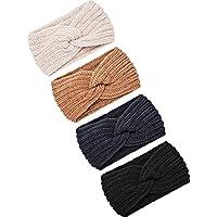 4 Pieces Chunky Knit Headbands Braided Winter Headbands Ear Warmers Crochet Head Wraps for Women Girls (Color Set 9)