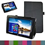 Mama Mouth PU Leather Folio 2-folding Stand Cover with Stylus Holder for IROPRO 10.1 Inch Windows 10 Tablet / Fusion5 10' Windows Tablet PC (10' IPS (1280*800)),Black