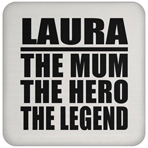 Designsify Mum Coaster, Laura Hero Mum, mit–MDF Coaster, Coaster Namen für die, die von, Frau, Tochter, Mutter, Mutter, Vater, Sohn, Kinder, Kind, Ehemann