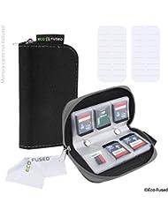 Speicherkarten-Tasche - 2 Stück - Passend für bis zu 22x SD, SDHC, Micro SD, Mini SD und 4x CF - Halterung mit 22 Schlitzen (8 Seiten) - Zur Aufbewahrung und für unterwegs - Mikrofaser-Reinigungstuch und Etiketten enthalten - Schwarz + Grau
