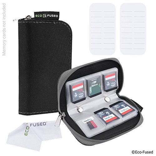 Speicherkarten-Tasche - 2 Stück - Passend für bis zu 22x SD, SDHC, Micro SD, Mini SD und 4x CF - Halterung mit 22 Schlitzen (8 Seiten) - Zur Aufbewahrung und für unterwegs - Mikrofaser-Reinigungstuch und Etiketten enthalten - Schwarz + Grau Memory Stick Sony Kamera