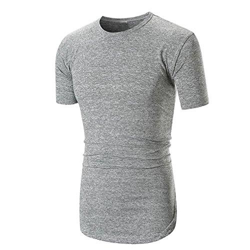 Herren Shirt, Sommer Casual Einfarbige Rundhalsausschnitt Slim Fit Verschiedene Tee Kurzarm T-Shirt Sportswear Sweatshirt Tanktop (M, Grau)