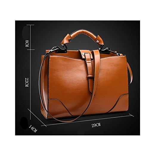 fanhappygo Fashion Leder Damen elegant Retro Ärzte Tasche Umschlag Schulterbeutel Umhängetaschen Abendtaschen braun