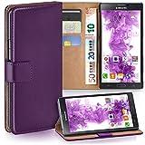 moex Samsung Galaxy Note 4 | Hülle Lila mit Karten-Fach 360° Book Klapp-Hülle Handytasche Kunst-Leder Handyhülle für Samsung Galaxy Note 4 Case Flip Cover Schutzhülle Tasche
