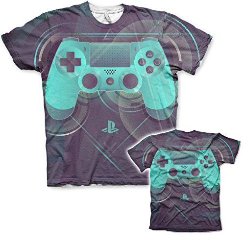Officially Licensed Merchandise Playstation Controller Allover Printed T-Shirt (Multicoloured), Medium