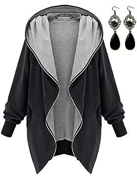 M-Queen Mujeres Abrigo de Manga Larga con Capucha Coat Jacket Chaqueta Gabardina Impermeable