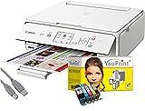 Canon Drucker TS5051 Tintenstrahl-Multifunktionsgerät Weiß (Drucken, Scannen, Kopieren, Cloudlink) mit 5 komp. YouPrint Tintenpatronen PGI-570/CLI-571 XL