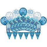 Glitz Azul 40º cumpleaños suministros para fiestas Kit para 8